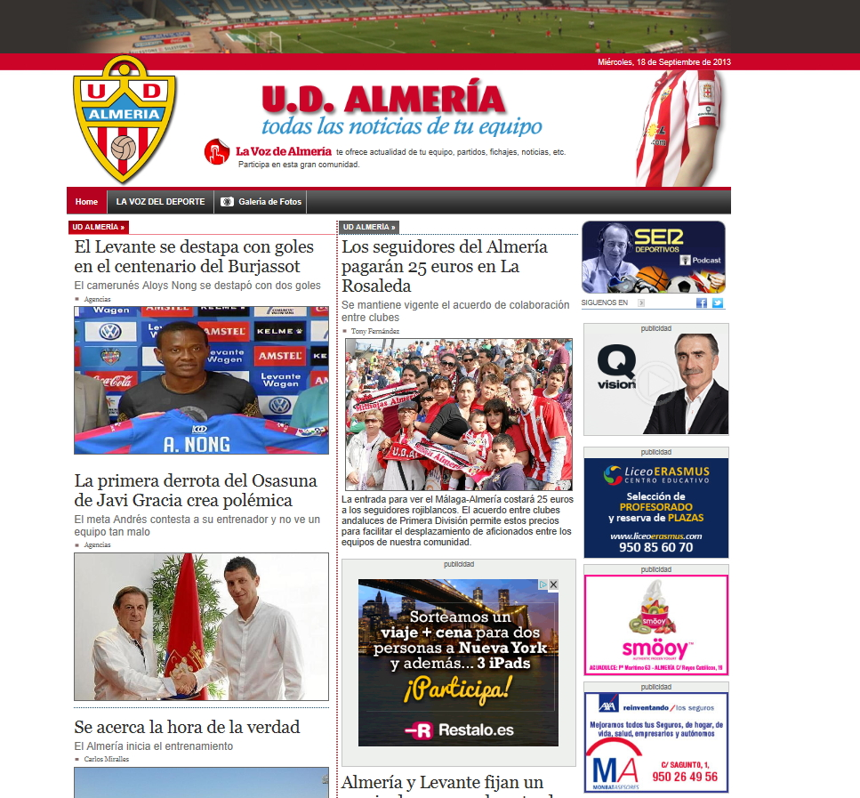 Web portal Unión Deportiva Almería